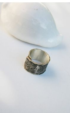 Silver Hammered Mens Ring  by mehru