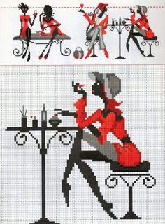 0 point de croix silhouette fille noir et rouge se maquillant - cross stitch…