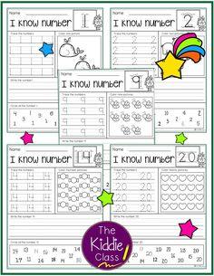 Number Practice Printables by The Kiddie Class Class Teacher, Teacher Helper, Elementary Math, Kindergarten Math, Preschool Math, Math Activities, Teaching Resources, Math Worksheets, Teaching Ideas