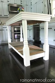 diy kitchen island rainonatinroof with barn wood and old porch columns Wood Columns, Porch Columns, Furniture Projects, Home Projects, Diy Furniture, Painted Furniture, Furniture Design, Furniture Plans, Furniture Dolly