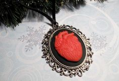 Anatomical Heart Christmas Ornament, red cameo halloween horror goth