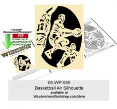 05-wp-555 - Basketball Air Silhouette Downloadable Scrollsaw Woodcraft Pattern…
