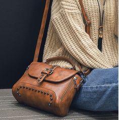 Rivet Pu Leather Crossbody Bags For Women Leather Crossbody Bag, Leather Purses, Leather Handbags, Leather Wallet, Crossbody Bags, Leather Chain, Pu Leather, Vintage Leather, Handmade Leather