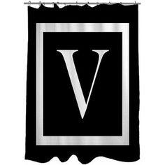 Thumbprintz Classic Block Monogram Black Shower Curtain