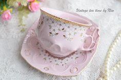 teacup vintage set floral porcelain Slavic porcelain pink tea