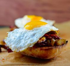 Eggplant, peppers and egg open faced sandwich | May I Have That Recipe