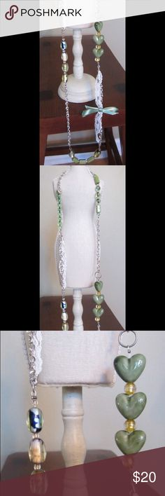 Handmade Boutique-Style Necklace: Long Green Handmade Boutique-Style Necklace: Long Green and silver with glass beads and ribbon/lace detail. Jewelry Necklaces