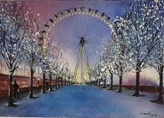 Watercolour Watercolour, Art Photography, Fair Grounds, Xmas, Pictures, Painting, Travel, Watercolor, Yule