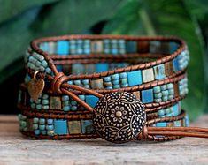 Copper Purple Beaded Wrap Bracelet Beaded Leather by PJsPrettys