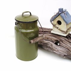 Vintage Enamelware Lunch Pail Green Granite Ware by WhimzyThyme, $48.95