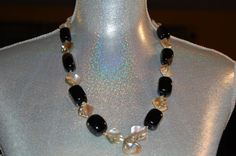 Black Agate/Mother of Pearl necklace by DriadaCollection on Etsy, $90.00