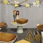 Linda & Marcus | Heart & Arrow Events | Geometric Wedding | Wedding Pies | Wedding Bobbleheads Wedding Pies, Geometric Wedding, Heart With Arrow, Bobble Head, Events, Happenings, Cake Wedding, Wedding Cake