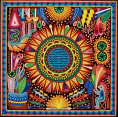 Yarn art Huichol painting, Enrique de la Cruz, Rio Suicio, Xalisco