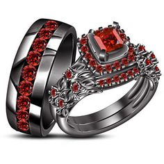 His Her Trio Wedding Ring Set Black Gold Finish 925 Silver Round Cut Red Garnet
