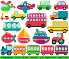Transportation Clipart and Vectors by PinkPueblo on Creative Market