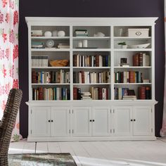 Hutch Unit for all your storage needs. Comes in three different sizes, all with adjustable shelving. Attractive wainscoting provides a subtle backdrop to the upper open shelving unit. Open Shelving Units, Muebles Living, Shaker Style Doors, Adjustable Shelving, Home Office, Family Room, New Homes, Living Room, Interior Design