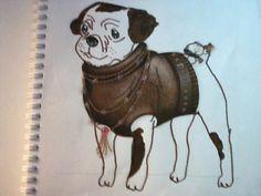 Um desenho de um cão com autocolantes e pintado a lápis de cor. Ainda contornado a marcador castanho.