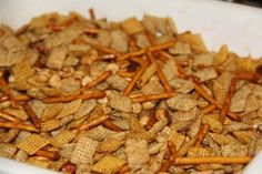 The authentic, original, original Chex Party Mix was very simple - containing only Wheat and Rice Chex cereals, butter, Worcestershire sauce, salt and garlic salt. As pictured, I've made a few changes, including substituting Corn Chex for the wheat and adding thin pretzel sticks.