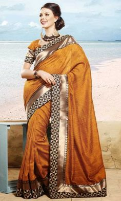 Buy Online Apricot Saree with Blouse at very affordable rate.