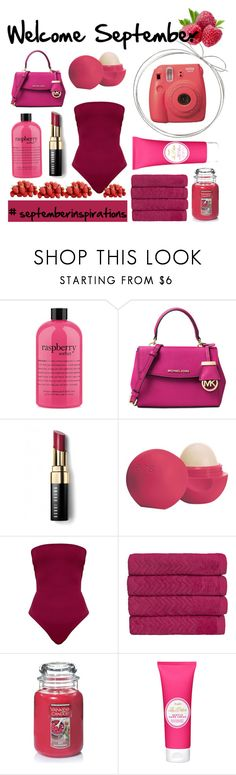 Welcome september by soraya-la-bua on Polyvore featuring moda, Bobbi Brown Cosmetics, Eos, philosophy, Christy, Yankee Candle, Fujifilm and september