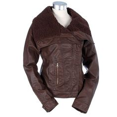 Faux Leather Sherpa Lined Jacket #WarmCoatsWarmHeartsPin