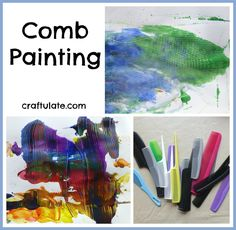 Comb Painting from Craftulate - a different way to paint without brushes!