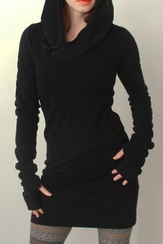 Trendy Hooded Finger Hollow Out Long Sleeve Black Bodycon Dress For Women