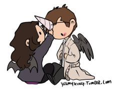 Meg helps Cas out with his costume.