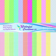 Pastel Polka Dots Set Digital Papers For Personal And