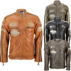 Mens Real Soft Leather Fitted Racing Biker Jacket Vintage Urban Retro Look Vintage Leather Motorcycle Jacket, Men's Leather Jacket, Jacket Men, Leather Jackets, Stylish Mens Fashion, Men Fashion, Style Fashion, Soft Leather, Napa Leather