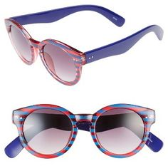 16284b83b2 Women s Bp. 48Mm Stripe Round Sunglasses - Blue  Red Cute Sunglasses