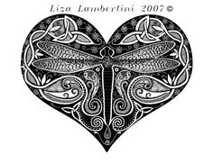 """Celtic Knotwork Dragonfly-Liza Lambertini 2007 """"This piece was made with the intention of positive changes that happen in life that are uplifting to the human spirit."""""""