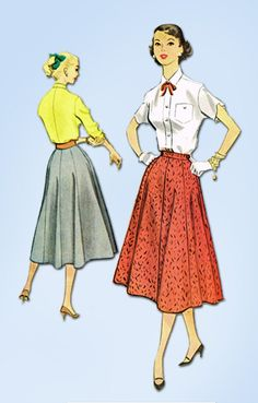 "McCall's Pattern 9448 Misses' Eight Gore Skirt Dated 1953 Complete Nice Condition 5 of 5 Pieces Counted. Verified. Guaranteed. Size 26"" Waist We Sell the Best Original Vintage Sewing Patterns and Embroidery Transfers!"
