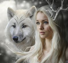 Deer lady with wolf