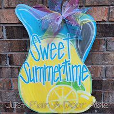 Lemonade Door Hanger Summer Door Hanger by JustPlainADoorAble Burlap Art, Burlap Crafts, Diy Crafts, Wooden Door Signs, Wooden Doors, Painted Doors, Painted Signs, Hand Painted, Summer Door Decorations