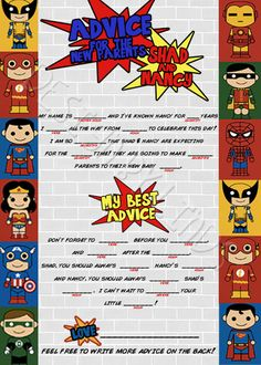 Superhero Baby Shower Package by amodernmark on Etsy
