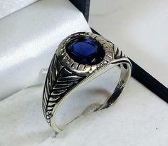 Vintage Ringe - 22 mm Ring Silber 925 Kristall dunkelblau SR757 - ein Designerstück von Atelier-Regina bei DaWanda