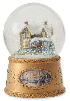 Musical Snow Globes With Light | ... Painter of Light Christmas Cottage Musical Snow Globe Water Ball