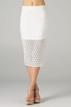 White Laser Cut Pencil Skirt