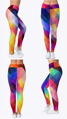 51121bb9143fcc Triangles polygon color pink leggings, breathe tech material , Sublimated  printing, Colorful pattern leggings