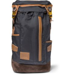 Leather and Suede-Trimmed Canvas Backpack