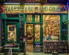 Photo of Shakespeare and Company Bookstore, Paris Photograph, Paris Bookshop, Gifts For Readers, Green Amber par9 by DeepLightPhotography on Etsy https://www.etsy.com/listing/94936662/photo-of-shakespeare-and-company