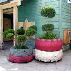old tires as planters