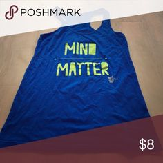 Get your workout on with some inspiration! Mind over Matter workout tank. Objex Sports size small. Royal blue with neon yellow graphic. objex sports Tops Tank Tops
