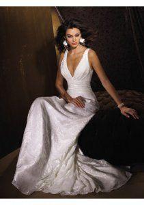 Lydia wedding-Burn-out Organza and Charmeuse V-neck Column Court Wedding Dress (BOTS1255)