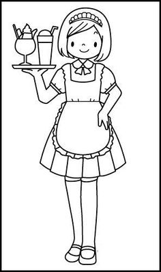 Waiter and Waitress Coloring Pages - Coloring Pages Coloring Sheets For Kids, Colouring Pages, Free Coloring, Adult Coloring, Coloring Books, Community Workers, Community Helpers, Teaching Kids, Kids Learning