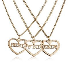 "(3 PCs/Set) Gold Tone Broken Heart Friendship BFF Pendant "" BEST FRIENDS ""20 5/8"" long"