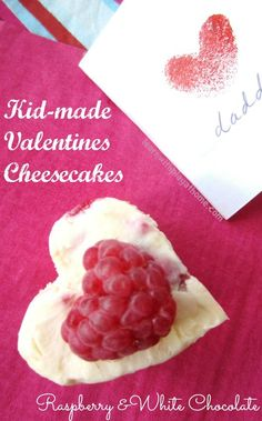 Kid-made Valentines Cheesecakes. White Chocolate and Raspberry.  I think we should make this for the learning... not the deliciousness... ;)