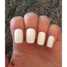 White nails, matte fake nails, acrylic nails ❤ liked on Polyvore featuring beauty products and nail care