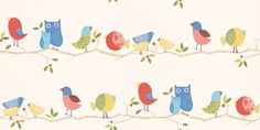 What-a-Hoot (70517) - Harlequin Wallpapers - Cute, cartoon decorative birds and Owls on a horizontal branch design – makes a fun nursery print giving a stripe effect.  Shown in the primary red, blue and yellow version. Please request a sample for true colour match